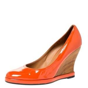 Salvatore Ferragamo Orange Patent Leather Wedge Platform Pumps Size 38.5