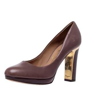 Salvatore Ferragamo Brown Leather Platform Pumps Size 35.5