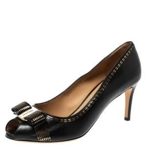 Salvatore Ferragamo Black/Gold Laser Cut Detail Leather Pola Peep Toe Pumps Size 38