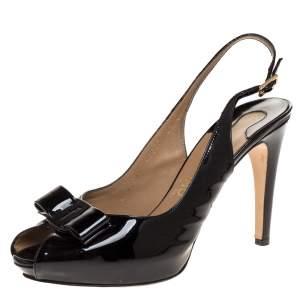 Salvatore Ferragamo Black Patent Leather Vara Bow Slingback Sandals Size 39