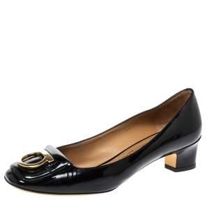 Salvatore Ferragamo Black Patent Leather Fele Gancio Pumps Size 41