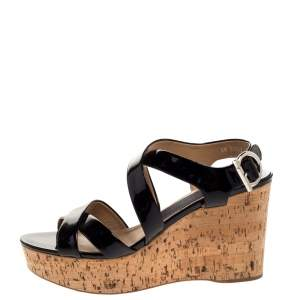 Salvatore Ferragamo Black Patent Cross Strap Cork Wedge Sandals Size 38.5