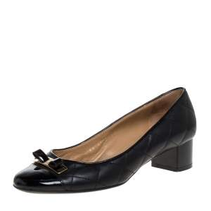 Salvatore Ferragamo Black Leather And Patent 'My Quilted' Bow Block Heel Pumps Size 36.5