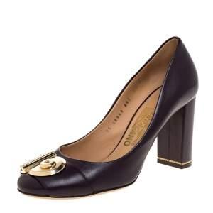Salvatore Ferragamo Burgundy Leather Fiamma Keyhole Block Heel Pumps Size 38