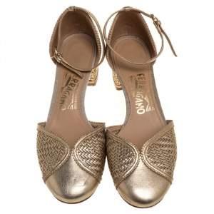 Salvatore Ferragamo Metallic Gold Woven Leather Edda Block Heel Sandals Size 36.5