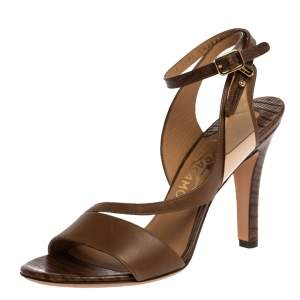 Salvatore Ferragamo Brown Lizard Embossed Leather Ankle Strap Sandals Size 36.5