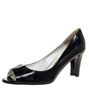 Salvatore Ferragamo Vintage Black Leather Bow Peep Toe Pumps Size 41