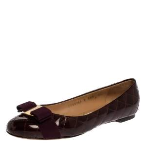 Salvatore Ferragamo Burgundy Quilted Patent Leather Varina Vara Bow Flats Size 37