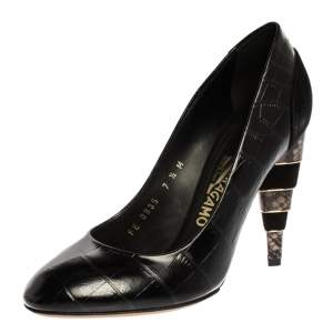 Salvatore Ferragamo Black Croc Embossed Leather Round Toe Pumps Size 38