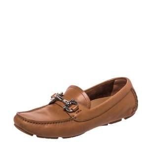 Salvatore Ferragamo Brown Leather Gancio Bit Loafers Size 35.5