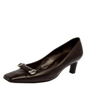 Salvatore Ferragamo Brown Leather Pumps Size 39.5
