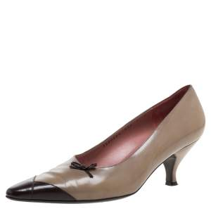 Salvatore Ferragamo Beige/Brown Leather Bow Detail Pumps Size 39.5
