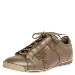 Salvatore Ferragamo Beige Leather and Suede Crystal Embellished Low Top Sneakers Size 39.5