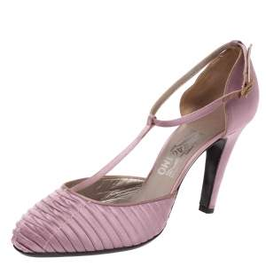 Salvatore Ferragamo Purple Pleated Satin T Strap Sandals Size 39.5