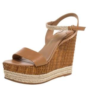 Salvatore Ferragamo Brown Leather, Jute And Raffia 'Marlene' Platform Wedge Sandals Size 39