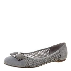 Salvatore Ferragamo Grey Suede And Patent Leather Laser Cut Vara Bow Ballet Flats Size 40