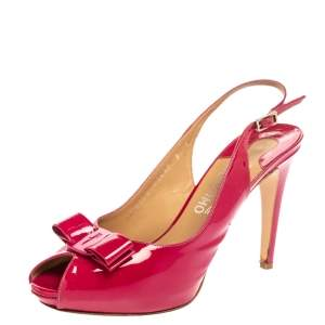Salvatore Ferragamo Pink Patent Leather Bow Peep Toe Platform Slingback Sandals Size 39.5