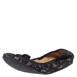 Salvatore Ferragamo Black Lace My Joy Bow Scrunch Ballet Flats Size 38