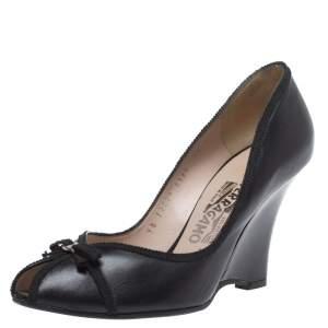 Salvatore Ferragamo Black Leather Bow Wedge Peep Toe Pumps Size 38
