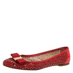 Salvatore Ferragamo Red Patent Leather Laser Cut Ballet Flats Size 37.5