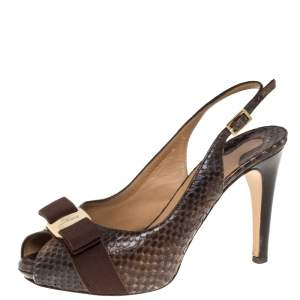 Salvatore Ferragamo Brown Python Bow Peep Toe Slingback Sandals Size 36.5