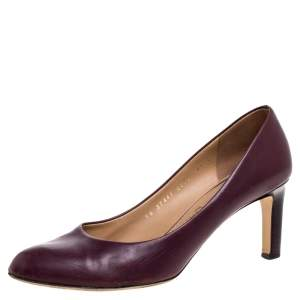 Salvatore Ferragamo Burgundy Leather Rodeadiv Round Toe Pumps Size 39
