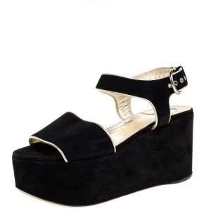 Salvatore Ferragamo Black Suede Lucrezia Wedge Platform Sandals Size 37