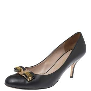 Salvatore Ferragamo Black Leather Bow Embellished Pumps Size 40