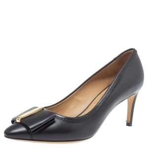 Salvatore Ferragamo Black Leather Edina Bow Pointed Toe Pumps Size 37.5