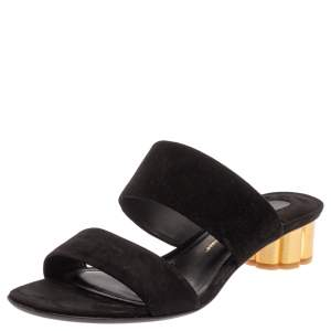Salvatore Ferragamo Black/Gold Suede Bulleno Sandals Size 37