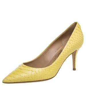 Salvatore Ferragamo Yellow Python Susi Pointed Toe Pumps Size 37.5