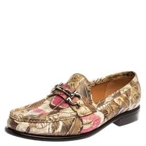 Salvatore Ferragamo Multicolor Flower Printed Leather Bit Slip On Loafers Size 38