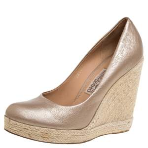 Salvatore Ferragamo Gold Leather Espadrille Wedge Pumps Size 39.5
