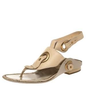 Salvatore Ferragamo Cream White Leather Ankle Strap Thong Flat Sandals Size 38.5