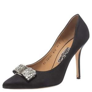 Salvatore Ferragamo Black Satin Embellished Vara Bow Pumps Size 40