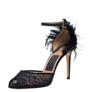 Salvatore Ferragamo Black Python/Lace and Feather Narleen Ankle Strap Sandals Size 36
