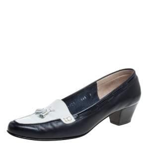 Salvatore Ferragamo Black Leather Fringe Bow Detail Loafers Pumps Size 39.5