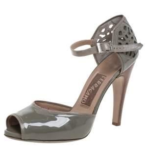 Salvatore Ferragamo Grey Patent Leather Cutout Ankle Strap Open Toe Sandals Size 40