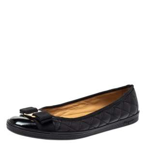 Salvatore Ferragamo Black Quilted Leather Varina Ballet Flats Size 39