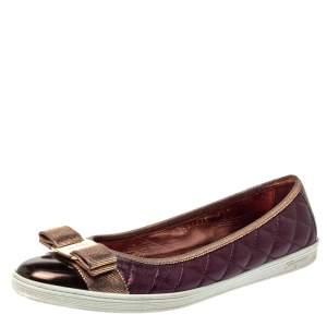 Salvatore Ferragamo Metallic Brown/Purple Leather Rufina Vara Bow Ballet Size 38