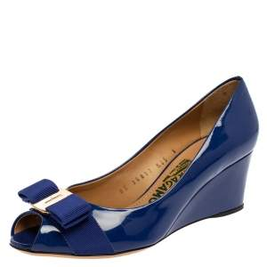 Salvatore Ferragamo Blue Patent Leather Vara Bow Wedge  Peep  Toe Pumps Size 36.5