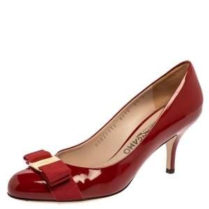 Salvatore Ferragamo Red Patent Leather Varina Vara Bow Pumps Size 36