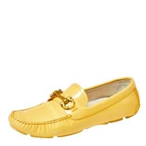 Salvatore Ferragamo Yellow Patent Leather Parigi Slip On Loafers Size 39.5