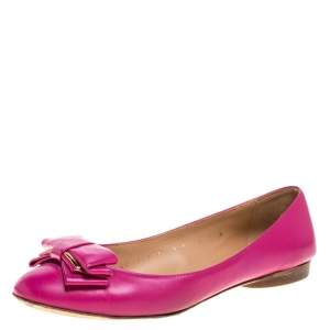 Salvatore Ferragamo Pink Leather Bow Ballet Flats Size 36.5