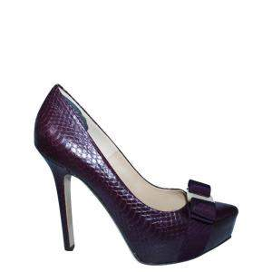 Salvatore Ferragamo Purple Python Leather Vara Pumps Size 35