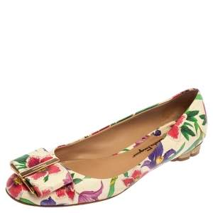 Salvatore Ferragamo Multicolor Floral Print Leather Avola Bow Ballet Flats Size 38