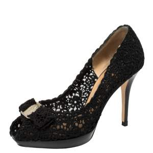 Salvatore Ferragamo Black Bonita Lace Peep Toe Pumps Size 37.5