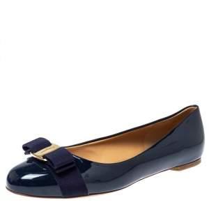 Salvatore Ferragamo Blue Patent Leather Varina Bow Flats Size 38.5