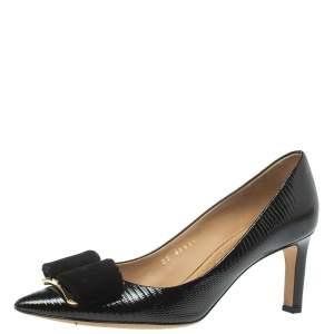 Salvatore Ferragamo Black Lizard Embossed Leather Carla Vara Bow Pumps Size 38