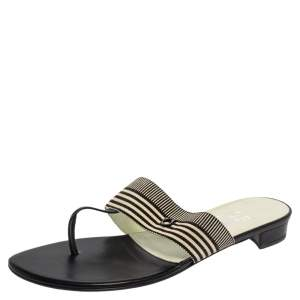 Salvatore Ferragamo Monochrome Fabric Sarcelle Thong Sandals Size 41